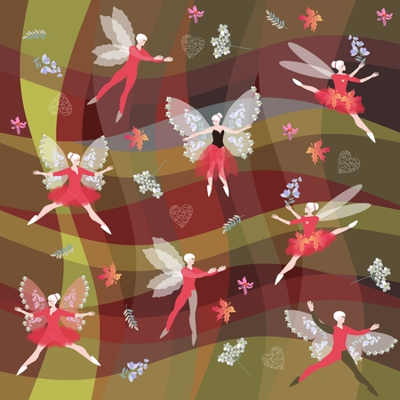 Fairy ballet dancers with butterflies wings on abstract background. Endless pattern.