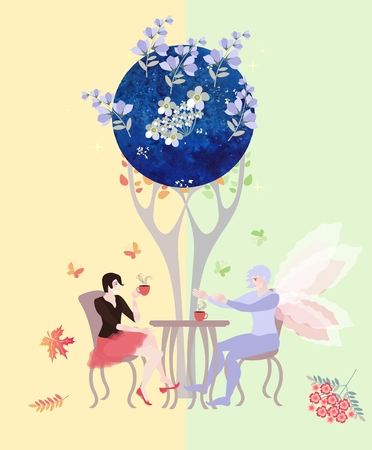 elven: Tea party on the border of summer and autumn, on the border of real and magic world. Beautiful woman and fairy man drink tea under the shadow of magic tree. Illustration