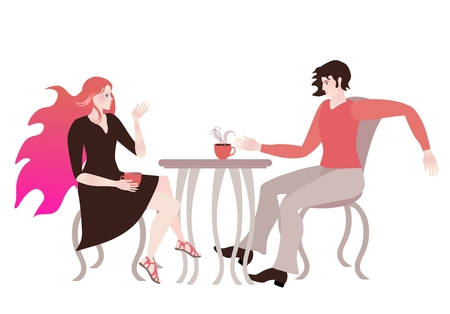 Young couple in love chatting in a cafe. Romantic card.