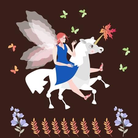 elven: Beautiful winged horsewoman on magic unicorn.