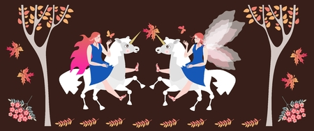Meeting in the autumn forest of two fairy horsewomen on unicorns.