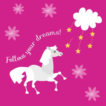 Beautiful vector card Follow your dreams with cute funny horse, stars and cloud on lilac background. Illustration