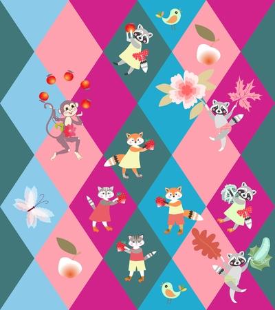 Fondo del Rhombus del remiendo con los animales divertidos lindos - pequeños gatos, zorros, mapaches y mono. Patrón de vectores sin fisuras para el niño.