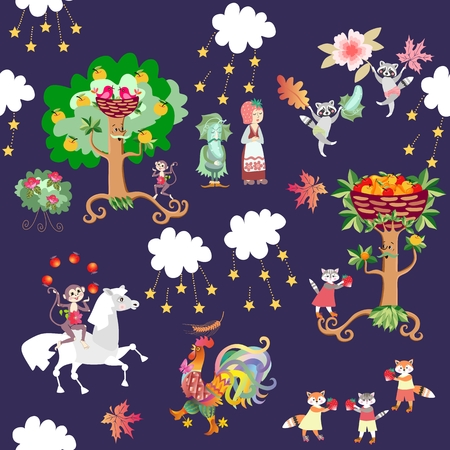 raccoons: Seamless kid pattern with cute cartoon animals and plants - horse, monkey, rooster, raccoons, cats, foxes, strawberry, cucumber, fruit trees. Vector illustration.