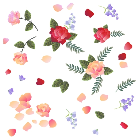 red rug: Roses and bell flowers isolated on white background. Design elements.