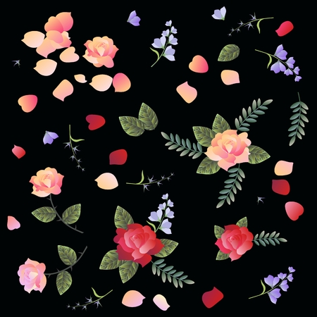 Ditsy floral pattern with roses and bell flowers on black background. Manton fragment.