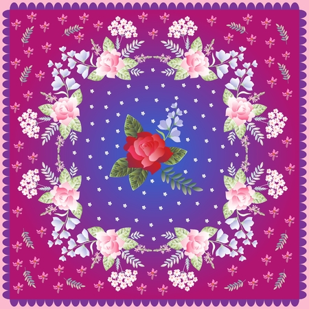 yarrow: Scarf with beautiful flowers in retro style. Vector design.