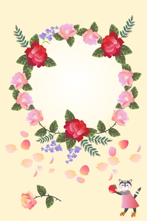 gentle: Cute card design with wreath of bright flowers and cat with berry.