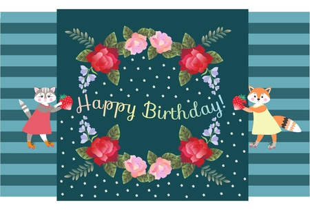 Happy Birthday! Nice card with  floral wreath and cute cat and fox with strawberries. Illustration