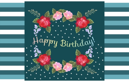 rose: Happy Birthday greeting card with beautiful flowers on striped background.