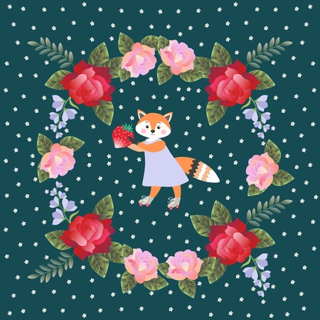 yarrow: Lovely little fox with strawberry and wreath of roses and bells flowers. Square card, napkin or pillowcase for baby. Vector design.