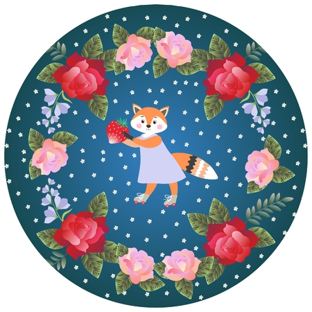 Decorative plate for baby with cute cartoon little fox, strawberry and round floral ornament.