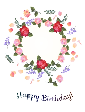 Happy Birthday Greeting Card Beautiful Floral Wreath With Red