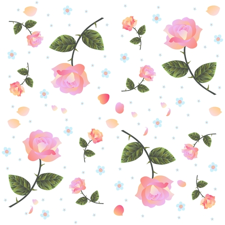 forget: Endless vector pattern with roses and forget me not flowers on white background. Romantic print for fabric.