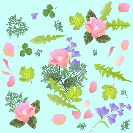 ajenjo: Patrón floral de primavera con ramo de flores rosas y campanas, pétalos, hojas de diente de León, trébol, viburnum y ajenjo. Imprimir para tela Vectores