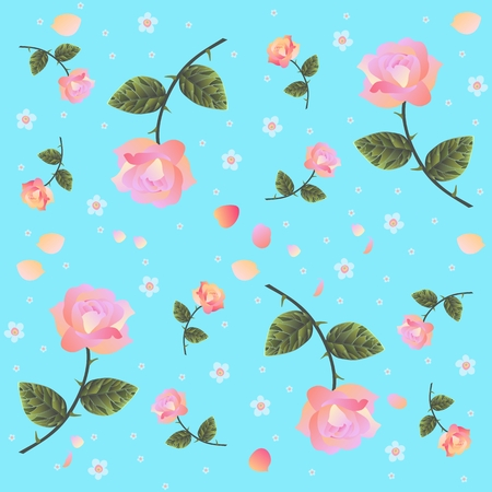 forget: Beautiful endless floral pattern with roses and forget me not flowers on sunny blue background. Vector design elements.