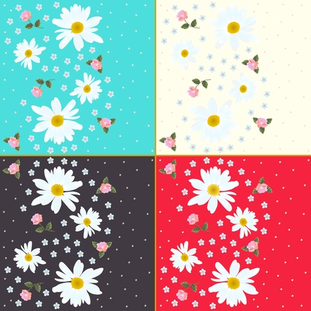 forget me not: Set of beautiful floral patterns with daisies, roses and forget me not flowers Illustration