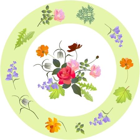 Vintage porcelain plate with floral ornament Illustration