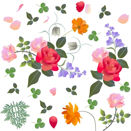 Leaves, petals and bouquet of gardening flowers. Design elements.