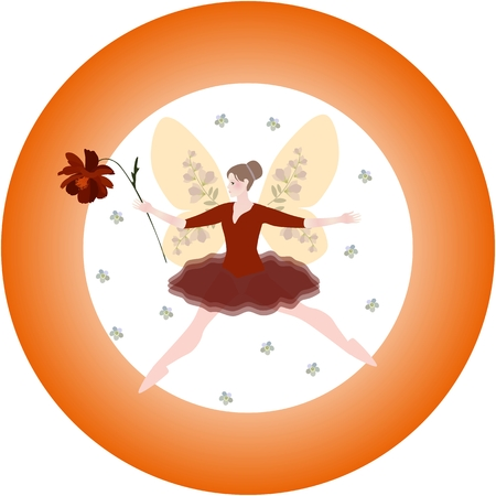 Round pattern with winged fairy and cosmos flower. Illustration