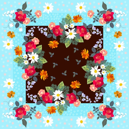 Floral bandanna template with bouquets of gardening flowers.