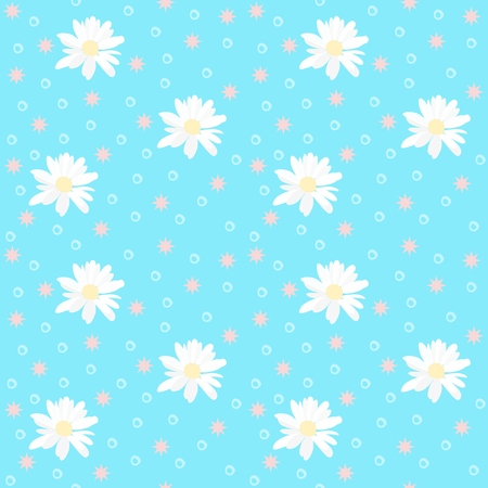 Seamless natural pattern with daisy flowers and stars on sunny blue background.