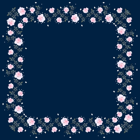 Beautiful bandanna with wreath of light pink roses on contrast dark blue background.