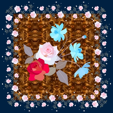 Greeting card or napkin with cute bouquet of roses and sunny blue cosmos flowers on ornate brown background. Vector illustration.