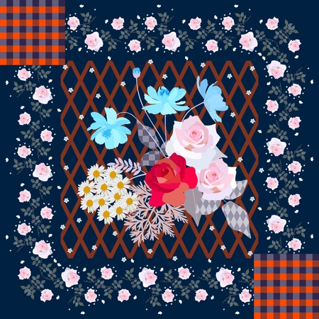 Greeting card in patchwork style with cute bouquet of gardening flowers and floral border. Tablecloth, bandana print, napkin, pillowcase, carpet.