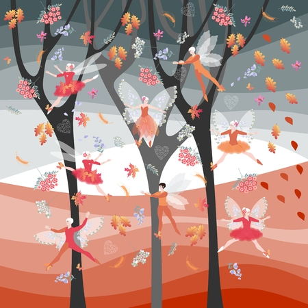 butterfly background: Autumn fairy ballet. Elven dance. Beautiful card with winged dancers, flowers and leaves on background of autumnal trees.