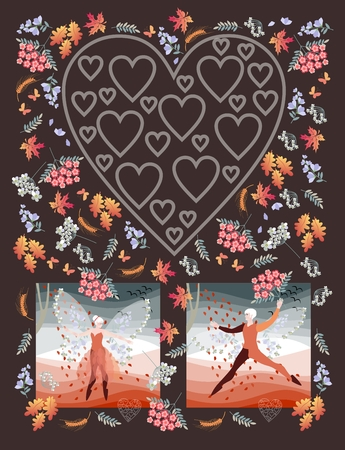 elves: Unusual wedding invitation with elf ballet dancers and silhouette of heart. Beautiful card with fairy man and woman, flowers, maple and oak leaves, ears of wheat and butterflies on brown background. Stock Photo