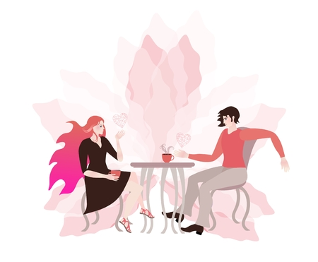 Young couple chatting in a cafe. Romantic card. Light pink flower and hearts, symbolizing love.