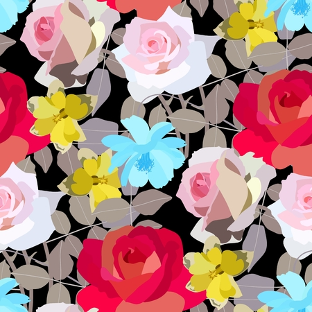 endlos: Beautiful roses, daffodils and cosmos flowers pattern. Vector illustration. Illustration