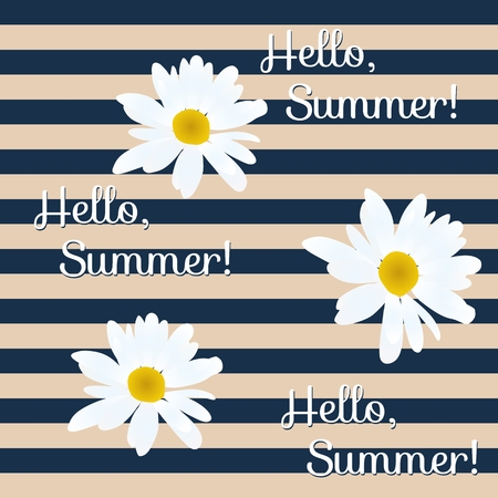 Striped pattern with daisy flowers and lettering Hello, summer!