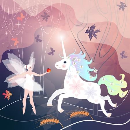 아름 다운 요정 소녀 잎과 나비 비행 마법의 숲에서 흰색 유니콘을 충족합니다.