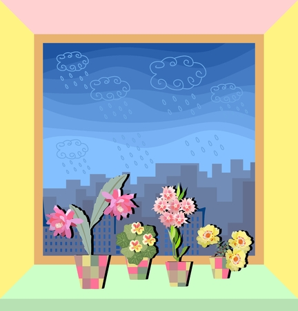 Window in apartment with cute flowers on the light green windowsill.