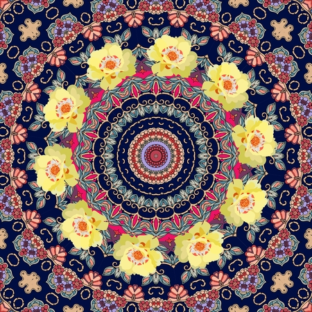 Ottoman ornamental pattern with wreath of yellow purslane flowers. Illustration