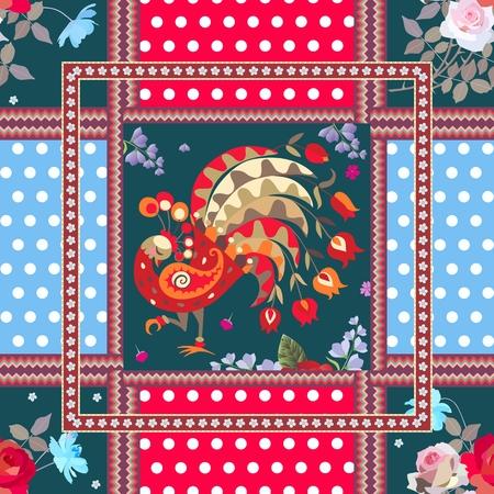 妖精孔雀、バラとコスモスの花、水玉の背景および装飾的なフレームの花束とシームレスなパッチワークのパターン。ベクター デザイン。  イラスト・ベクター素材