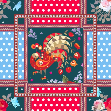 Seamless patchwork pattern with fairy peacock, bouquets of roses and cosmos flowers, polka dot background and ornamental frames. Vector design.