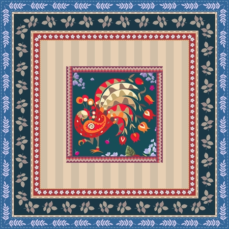 fiery: Pillowcase with fiery peacock and botanical frame. Indian motif.