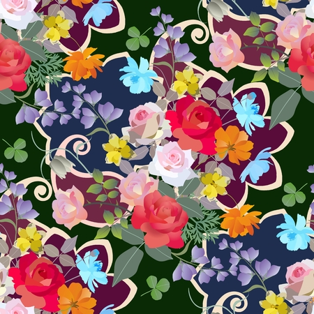 Fragment of spanish shawl. Seamless floral pattern with bouquets of gardening flowers.