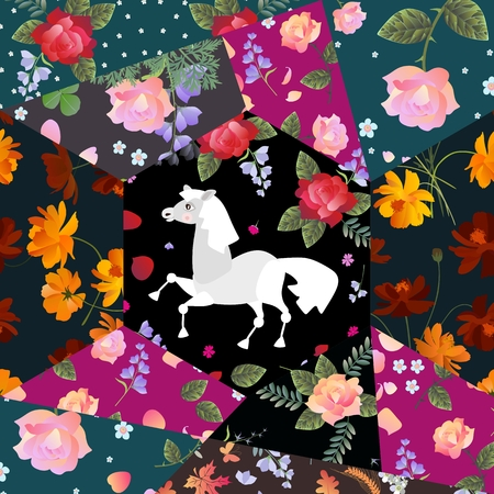 Beautiful patchwork pattern with horse and flowers. Stock Photo