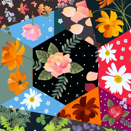 aster: Floral patchwork pattern with roses, cosmos and bell flowers, daisies and leaves. Stock Photo