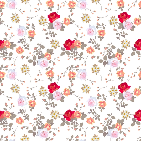 Ditsy seamless floral pattern with various roses, daisies and leaves on white background.