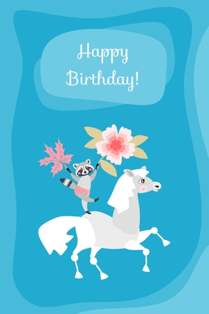 Happy Birthday Cute Greeting Card With Raccoon On Horse Royalty