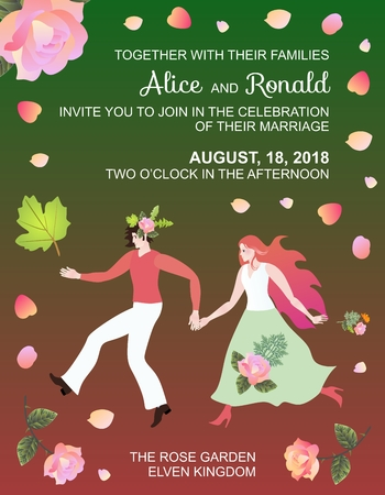 elves: Wedding invitation with fairy elf couple in frame of rose flowers and petals. Illustration