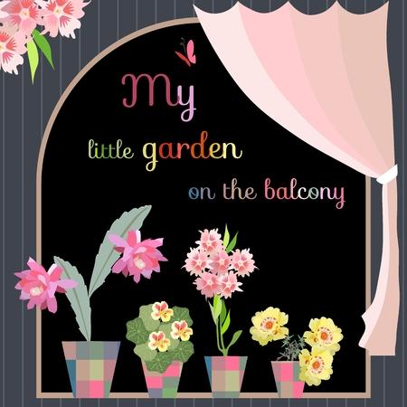 My little garden on the balcony. Beautiful flowers in flowerpots.