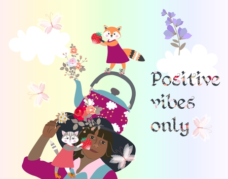 Positive vibes only. Thinking concept. Beautiful card with funny characters, teapot and flowers on rainbow background. Illustration