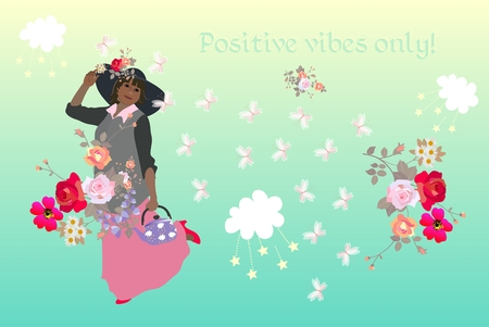 Positive vibes only! Lovely card with beautiful woman, bouquets of flowers, butterflies, cute cartoon clouds and stars. Thinking concept. Motivation. Inspiration. Çizim