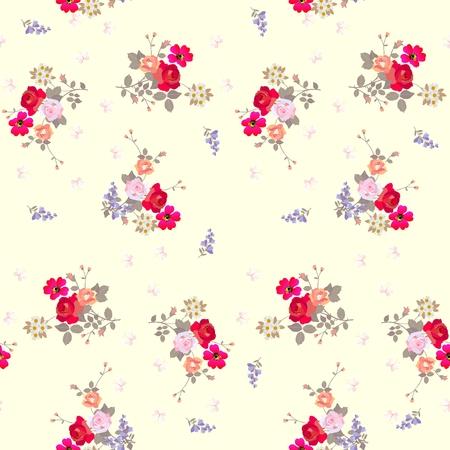 Modello floreale senza cuciture con le farfalle su fondo giallo-chiaro. Vettoriali